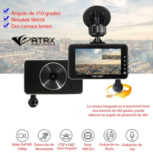 Dash Cam Doble Cámara Parking Monitor Full HD 1080p