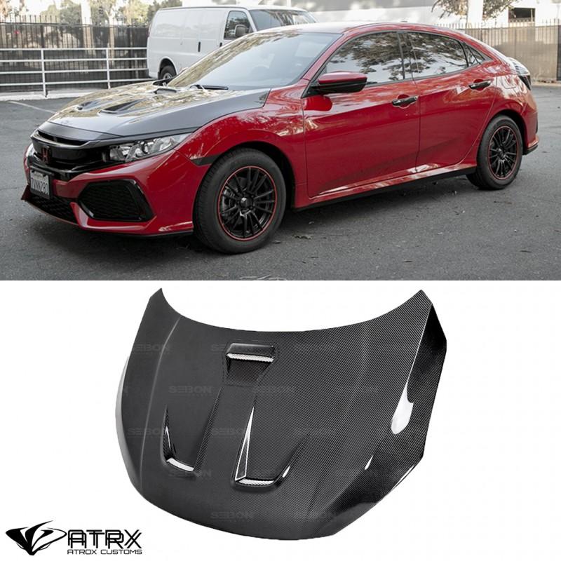 Cofre Capo MR Style Funcional Fibra de Carbono Honda Civic 2016 - 2019