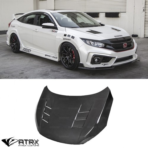 Cofre Capo TS Style Funcional Fibra de Carbono Honda Civic 2016 - 2019