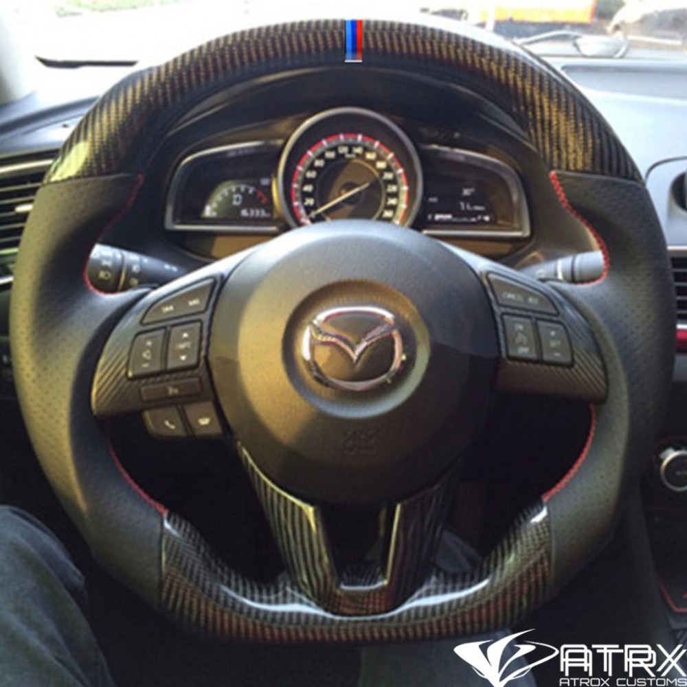 Volante Deportivo Fibra Carbono Piel Mazda 3 2017 2018